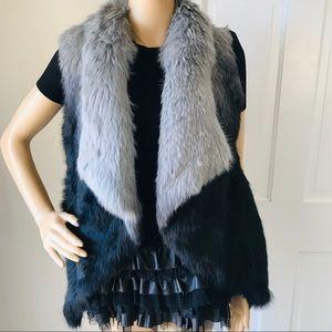 XS Love Token Ombre Rabbit Fur Jacket NWOT